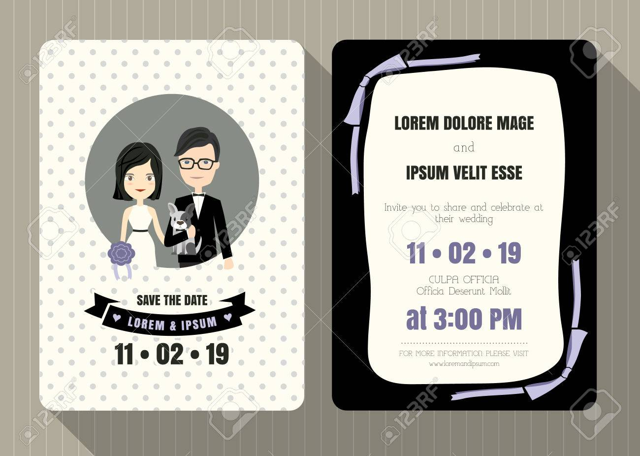 Wedding Invitation Card Template With Cute Groom And Bride Cartoon ...