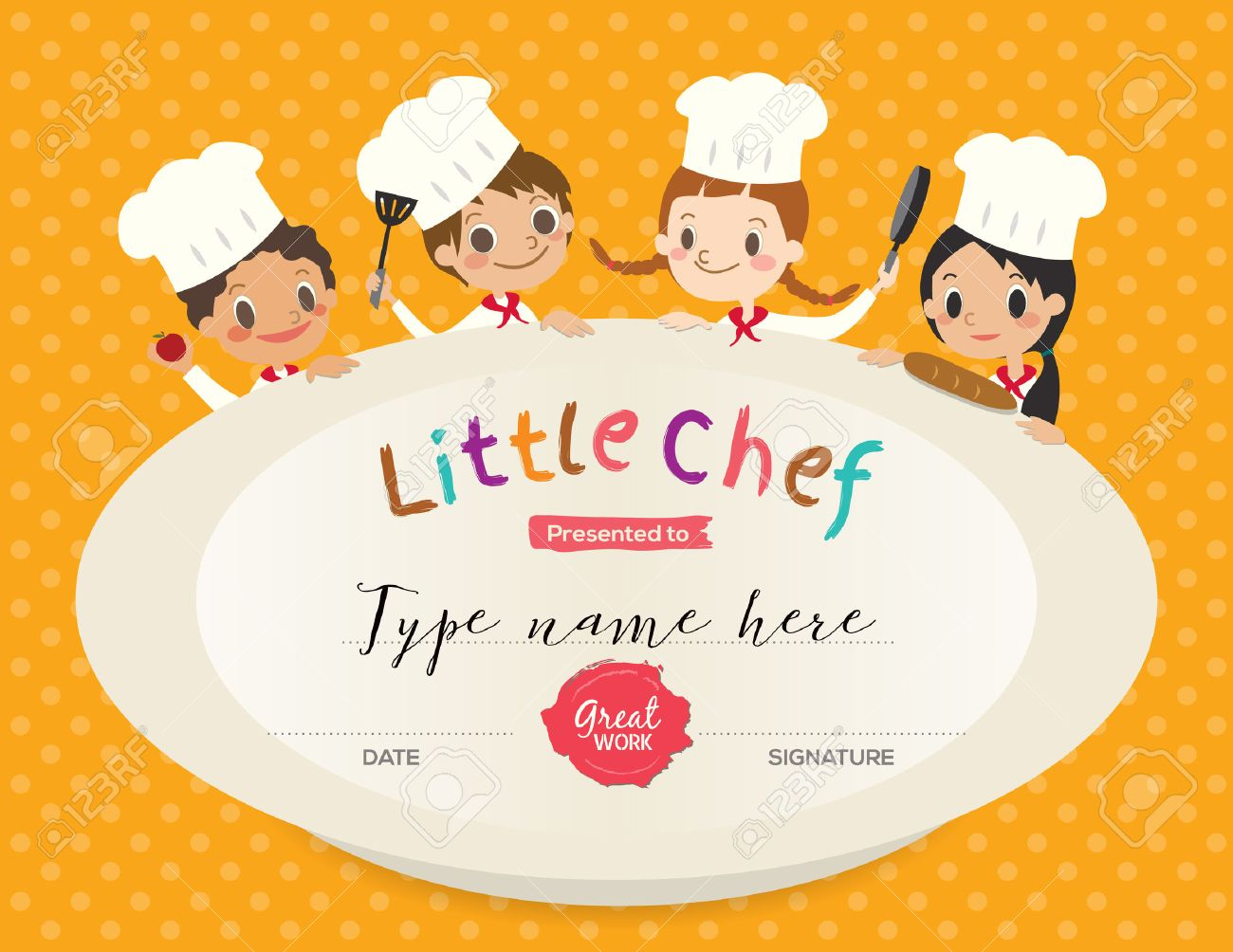 Kids Cooking class certificate design template with little chef cartoon illustration - 55157575