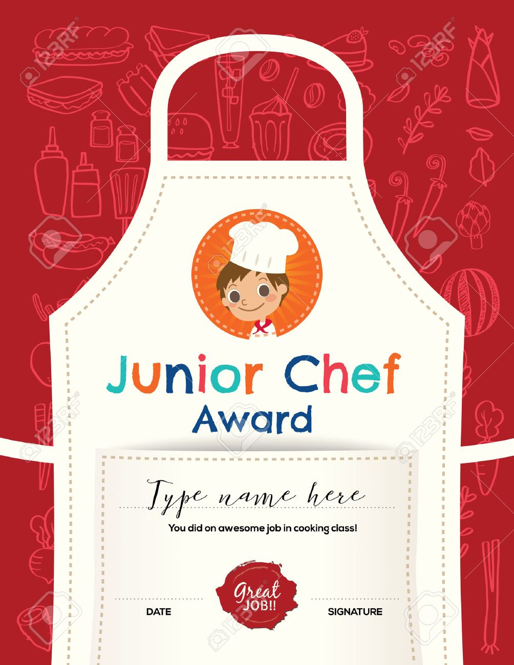 Kids Cooking class certificate design template with junior chef cartoon illustration on kitchen apron background - 55157576