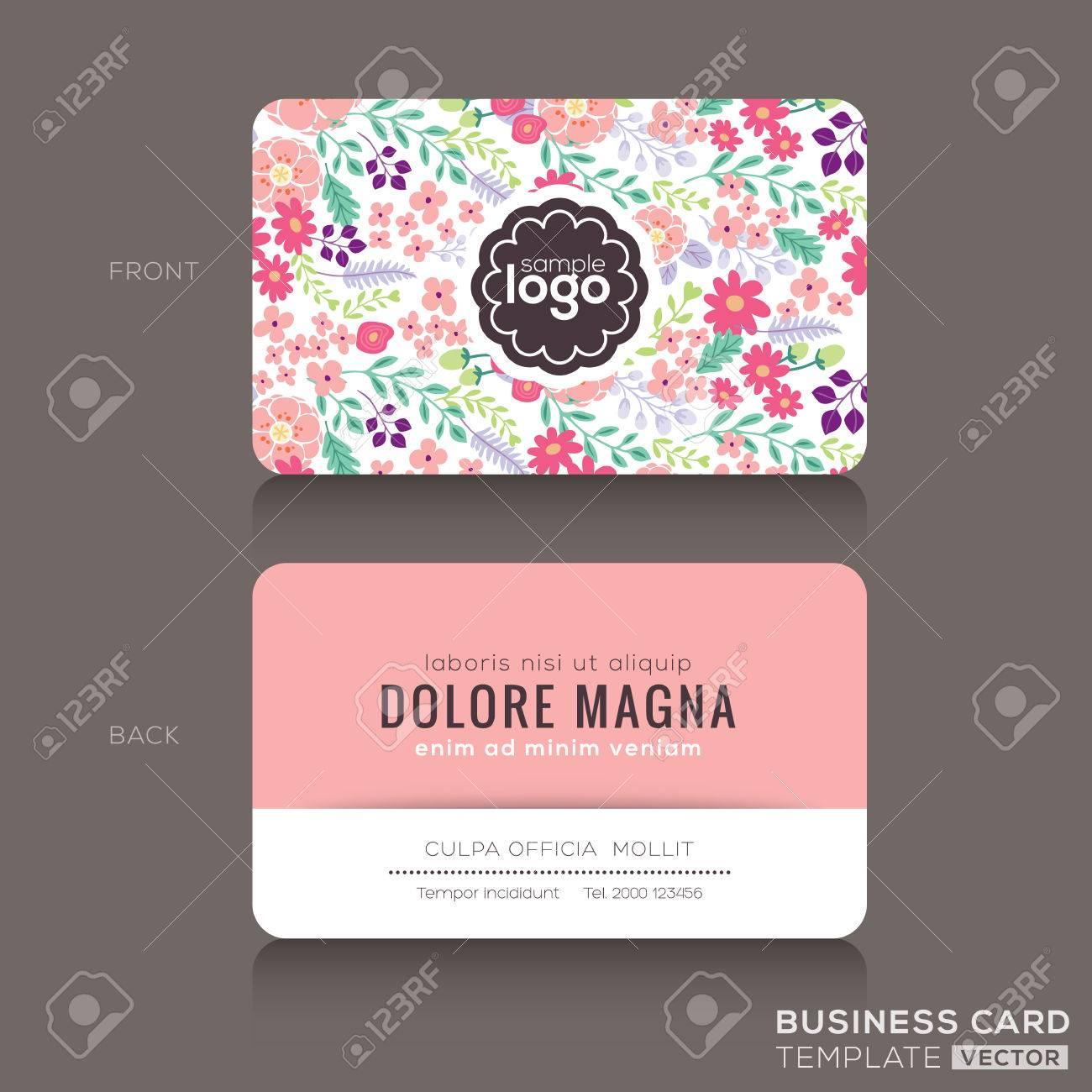 Cute Floral Pattern Business Card Name Card Design Template - Cute business cards templates free