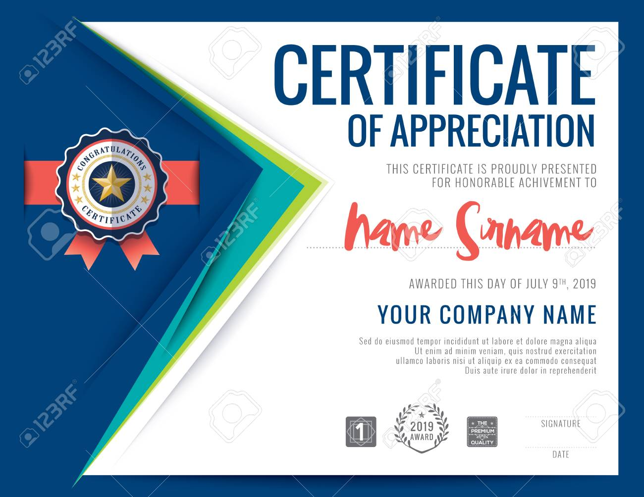Modern certificate blue triangle shape background frame design modern certificate blue triangle shape background frame design template stock vector 55656562 yadclub Gallery