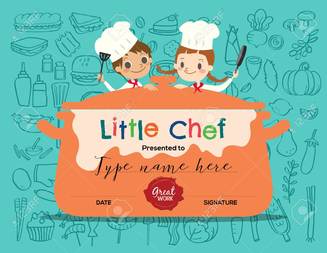 Kids Cooking class certificate design template with little chef cartoon illustration - 55656559