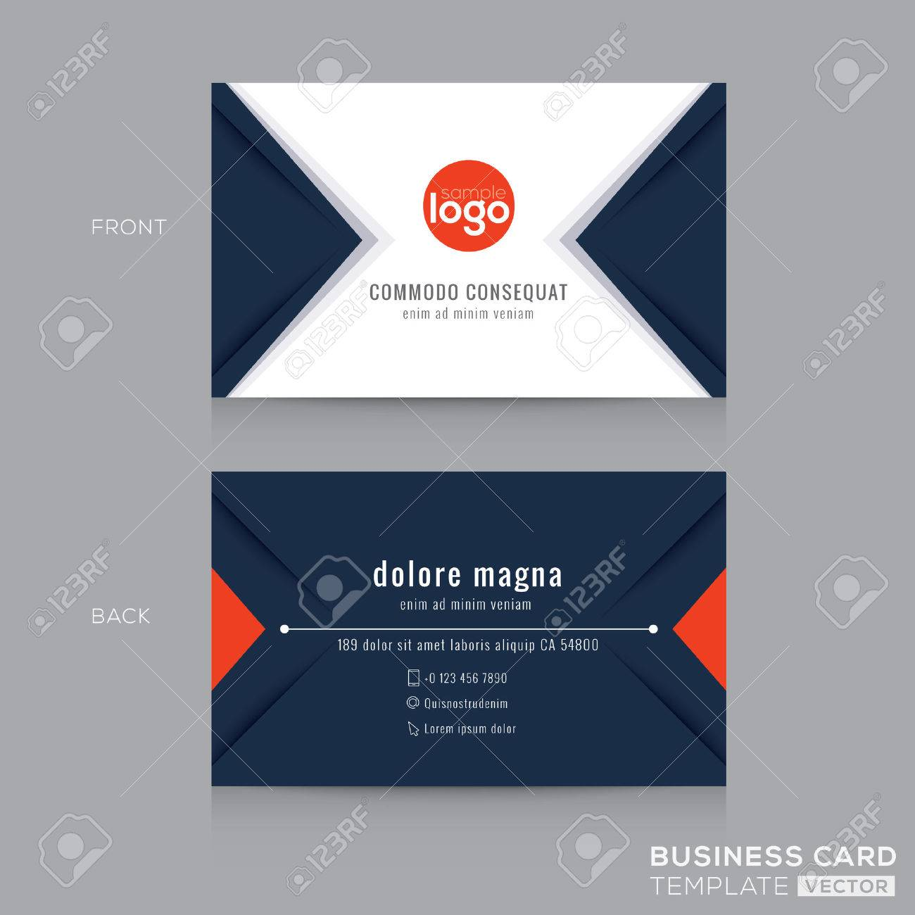 Abstract Modern Navy Blue Triangle Business Card Name Card Design ...
