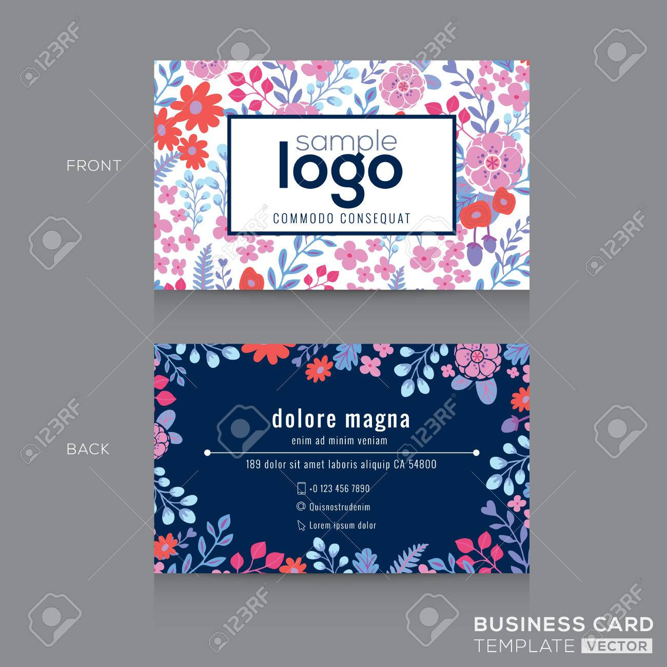 Cute Floral Pattern Business Card Name Card Design Template Royalty