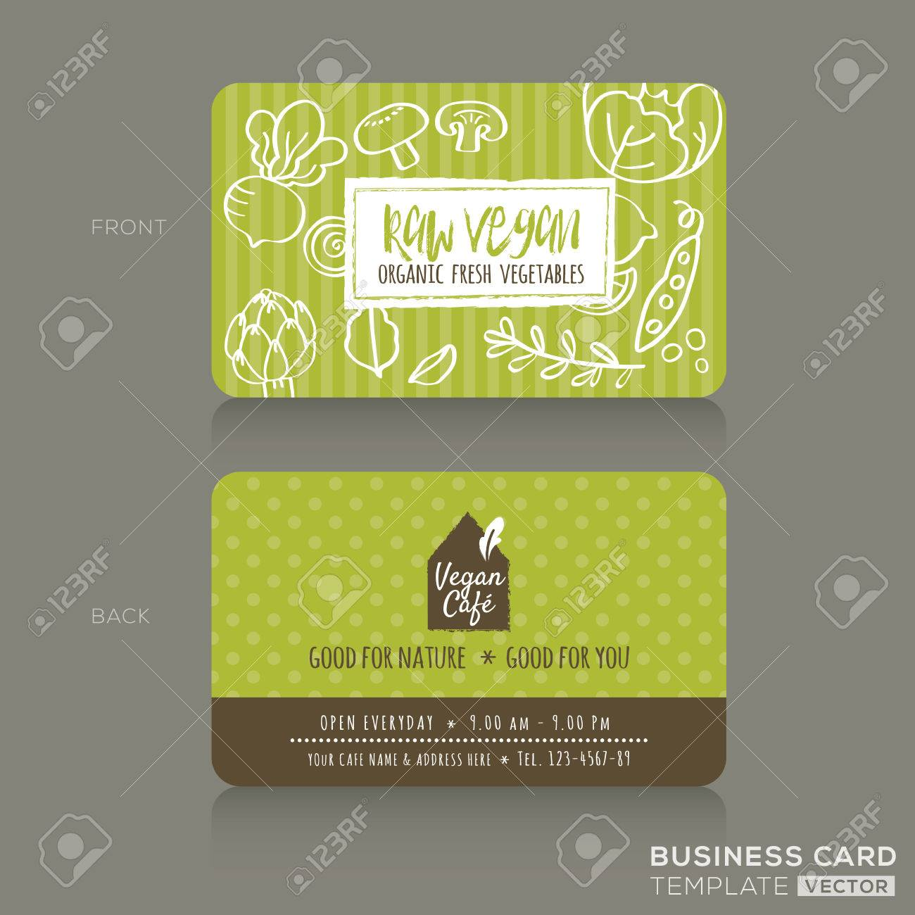 Organic foods shop or vegan cafe business card design template with imagens organic foods shop or vegan cafe business card design template with vegetables and fruits doodle background reheart