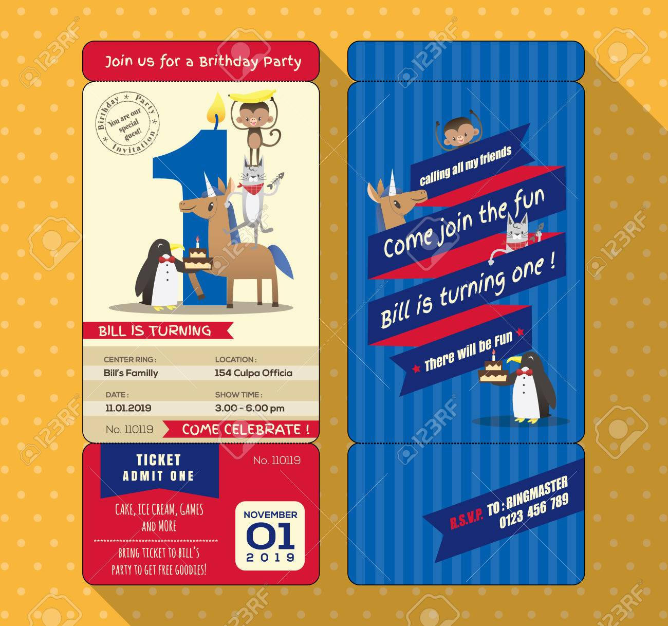 1st Birthday Party Invitation Card With Ticket Boarding Pass