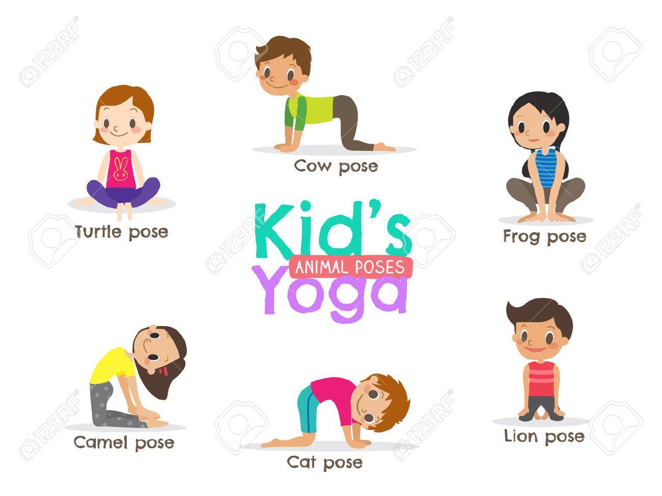 yoga kids poses cartoon illustration - 56408726