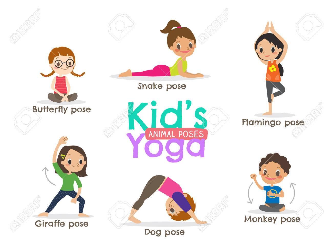 Las Posturas De Yoga Los Ninos De Dibujos Animados Ilustraciones Vectoriales Clip Art Vectorizado Libre De Derechos Image 56408720