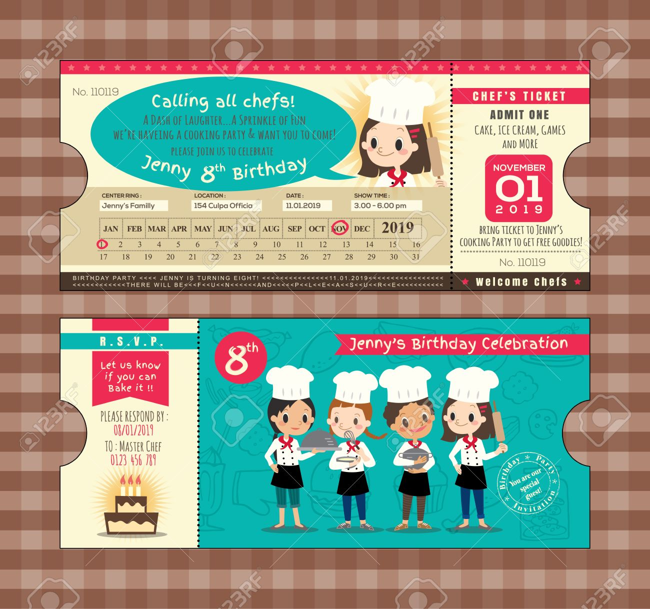 ticket birthday card party invitation template with chefs cooking