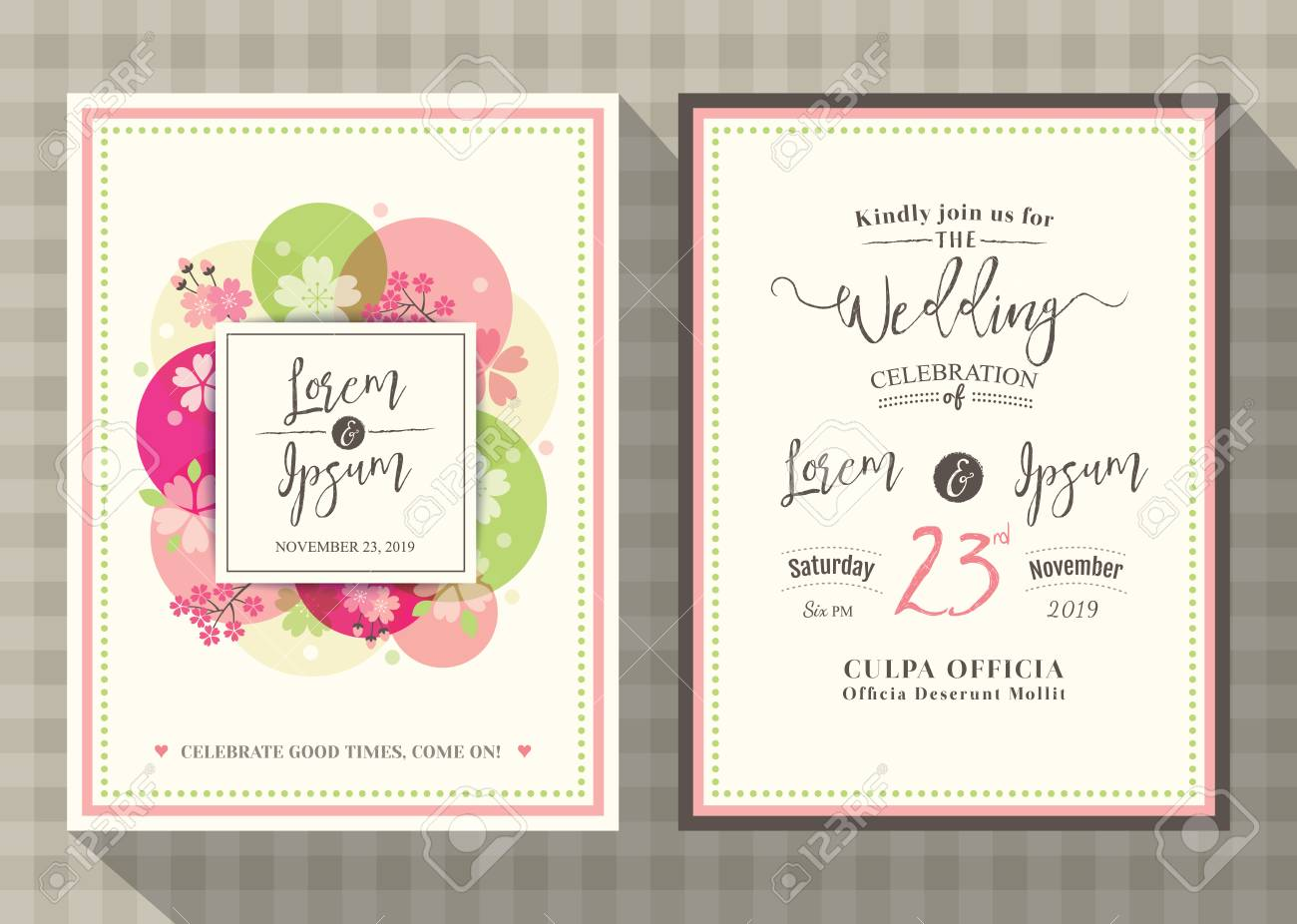 Floral Cherry Blossom Wedding Invitation Card Design Template ...