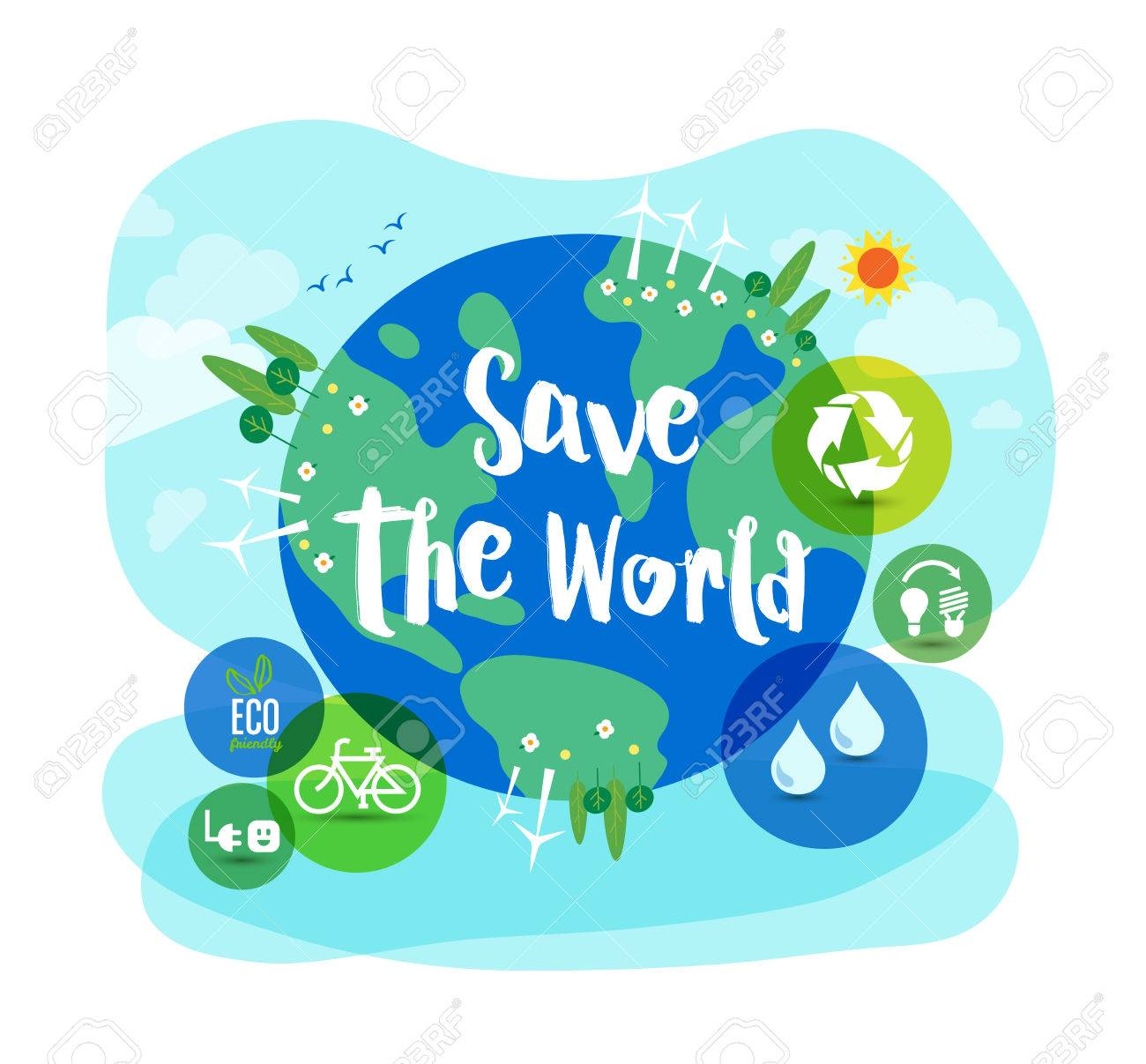 Nice Save The World Sustainable Development Ecology Concept Illustration Stock  Vector   56887933