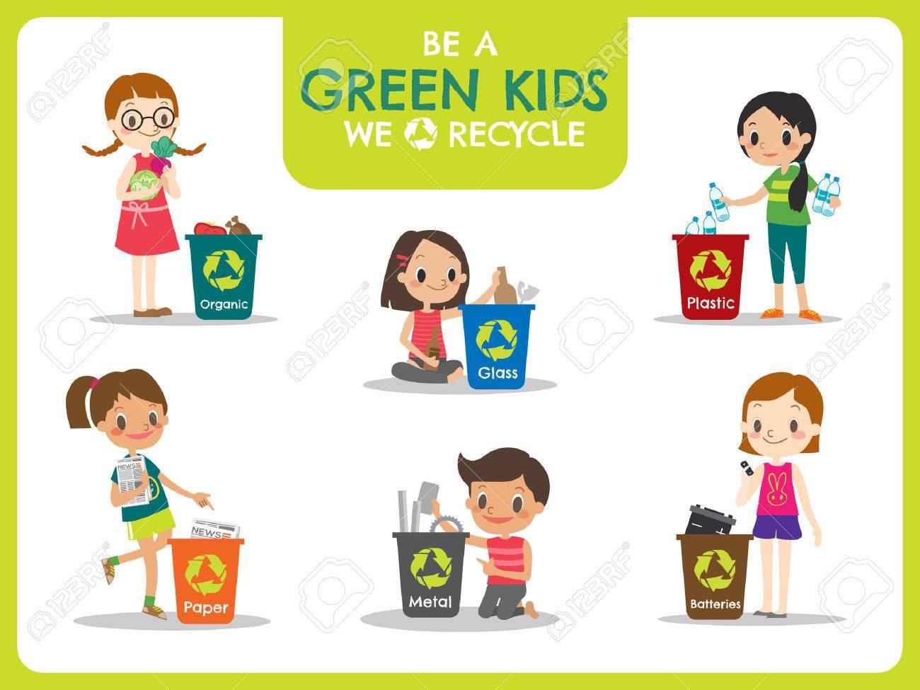 Green kids segregating trash recycling concept illustration - 56887932