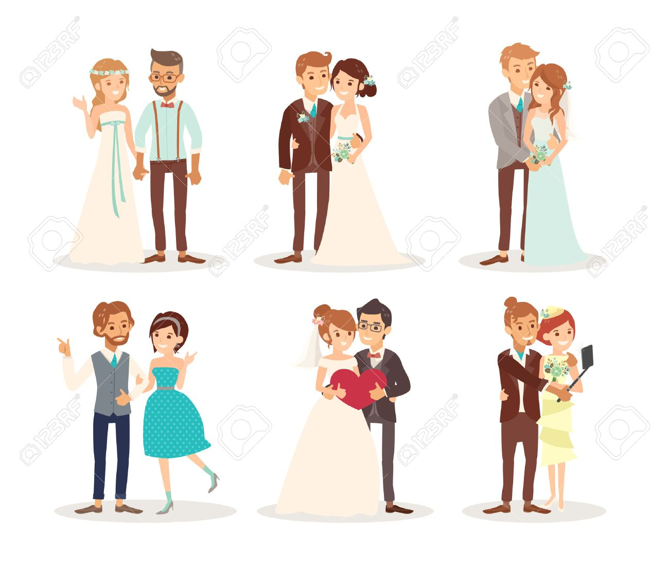 cute wedding couple bride and groom cartoon illustration - 57729379