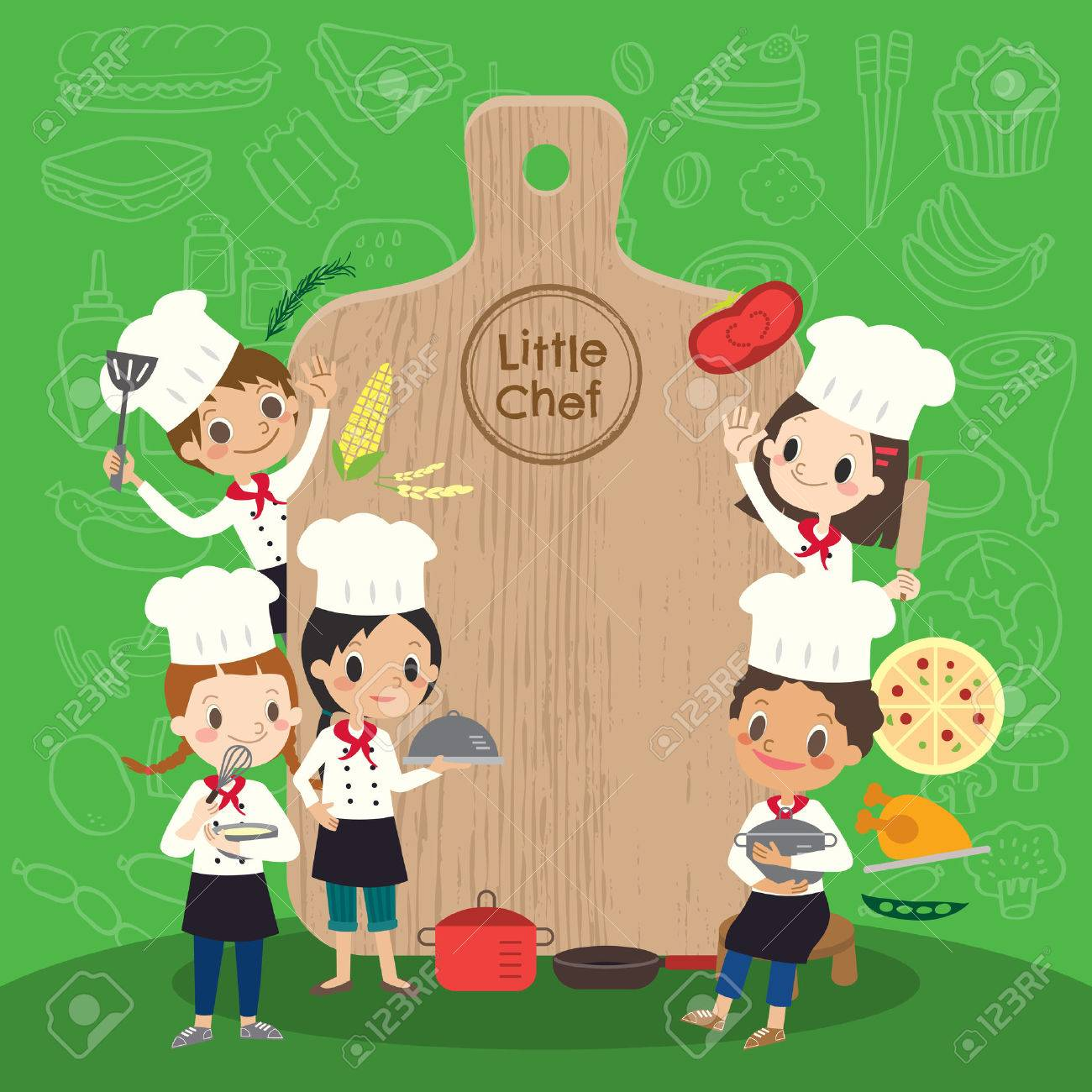 group of young chef with chopping block children kids cartoon illustration - 57729381