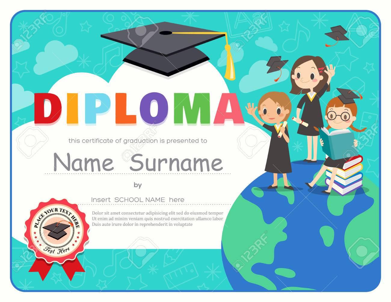 Primary School Kids Graduation Diploma Certificate Background ...