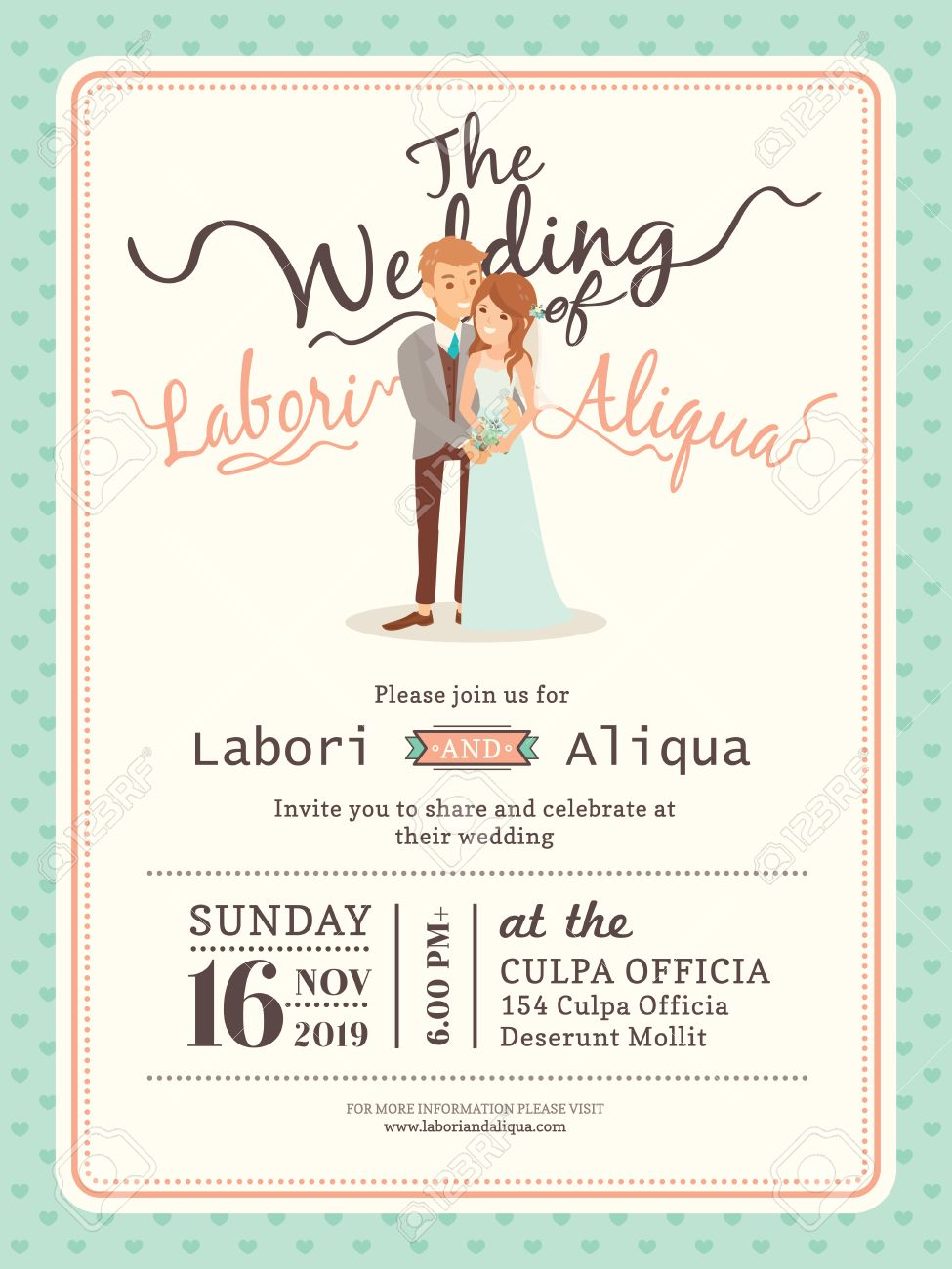 Wedding Couple Groom And Bride Cartoon Invitation Card
