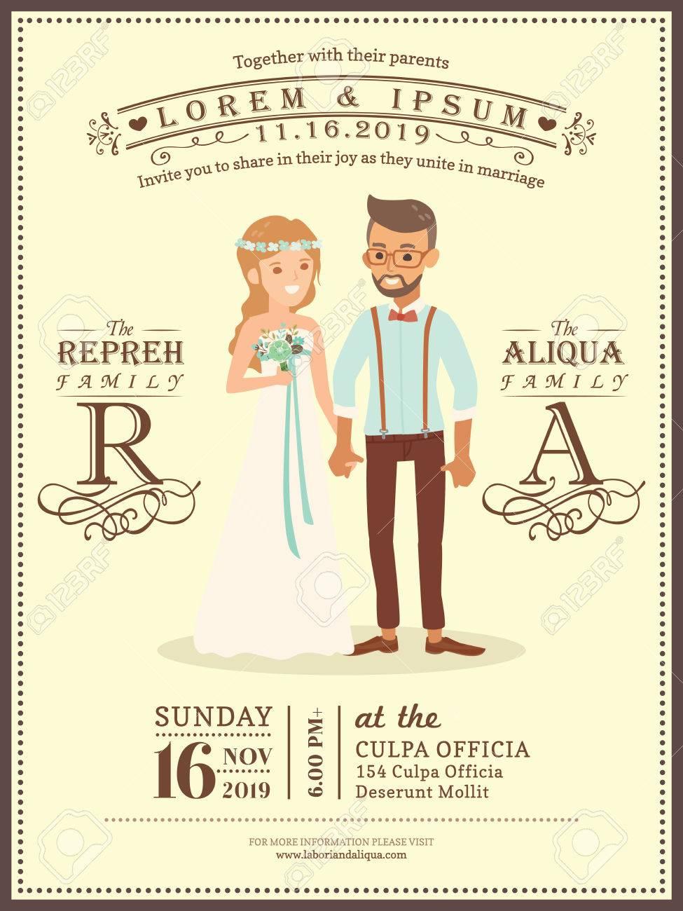 Cute Wedding Couple Groom And Bride Cartoon Wedding Invitation Card  Template Stock Vector   58199299