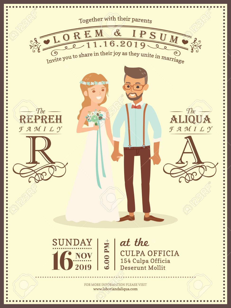 cute wedding couple groom and bride cartoon wedding invitation