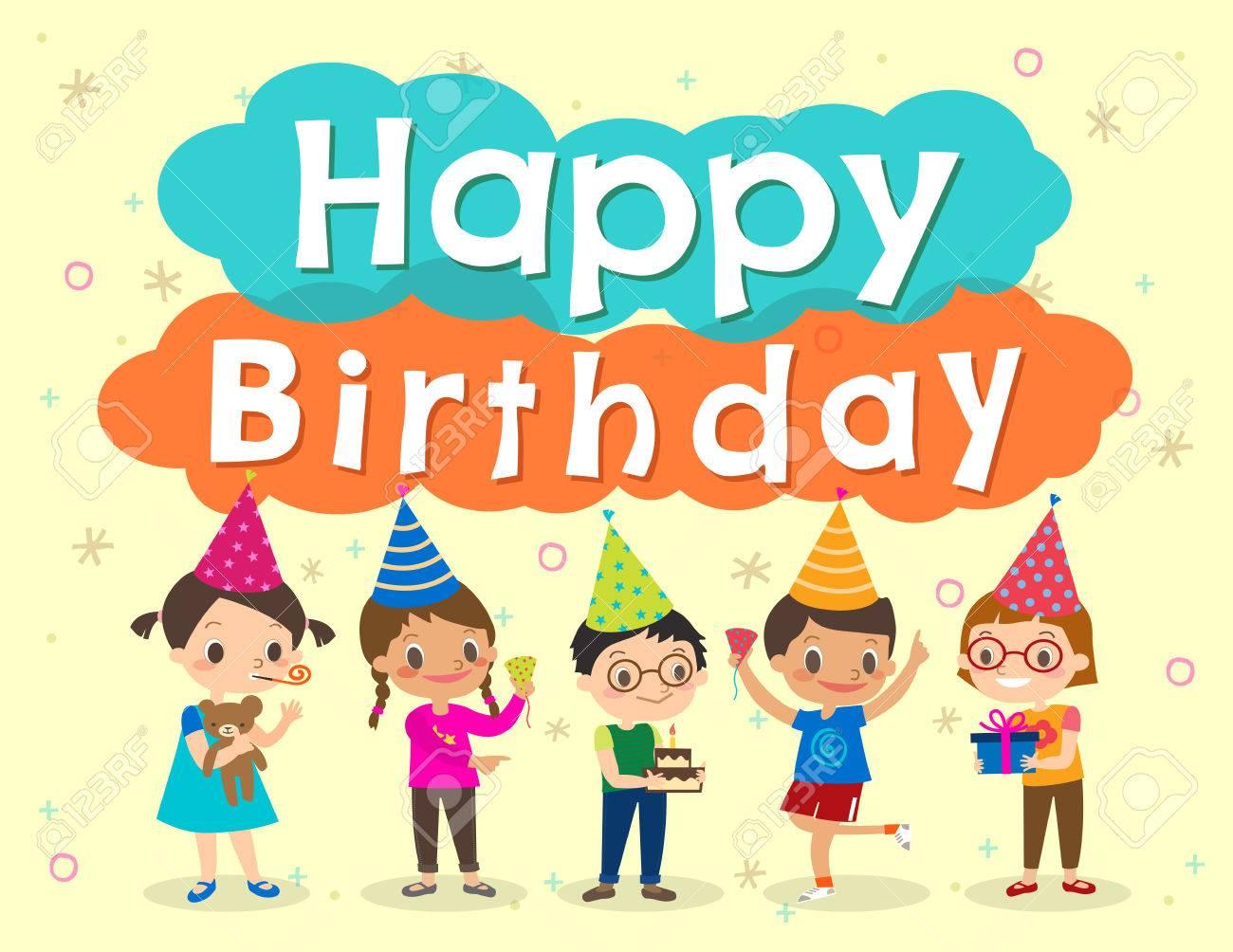 Happy Birthday Party Kids Cartoon Illustration Design Template Stock Vector