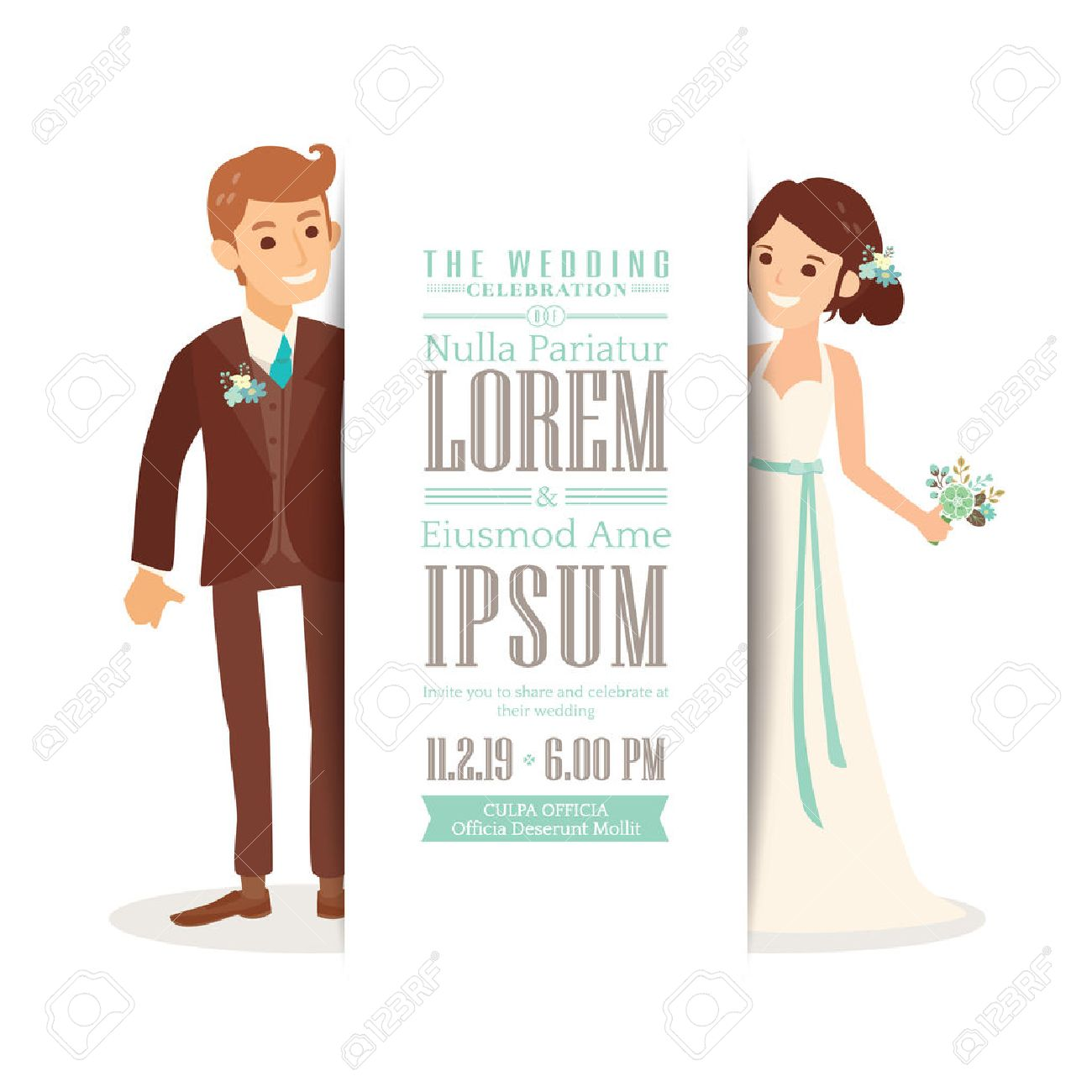 Wedding Couple Groom And Bride Cartoon On White Background, Wedding ...