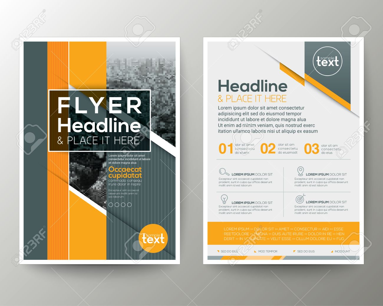 Grey and Orange Geometric background Poster Brochure Flyer leaflet design Layout vector template in A4 size - 58831029