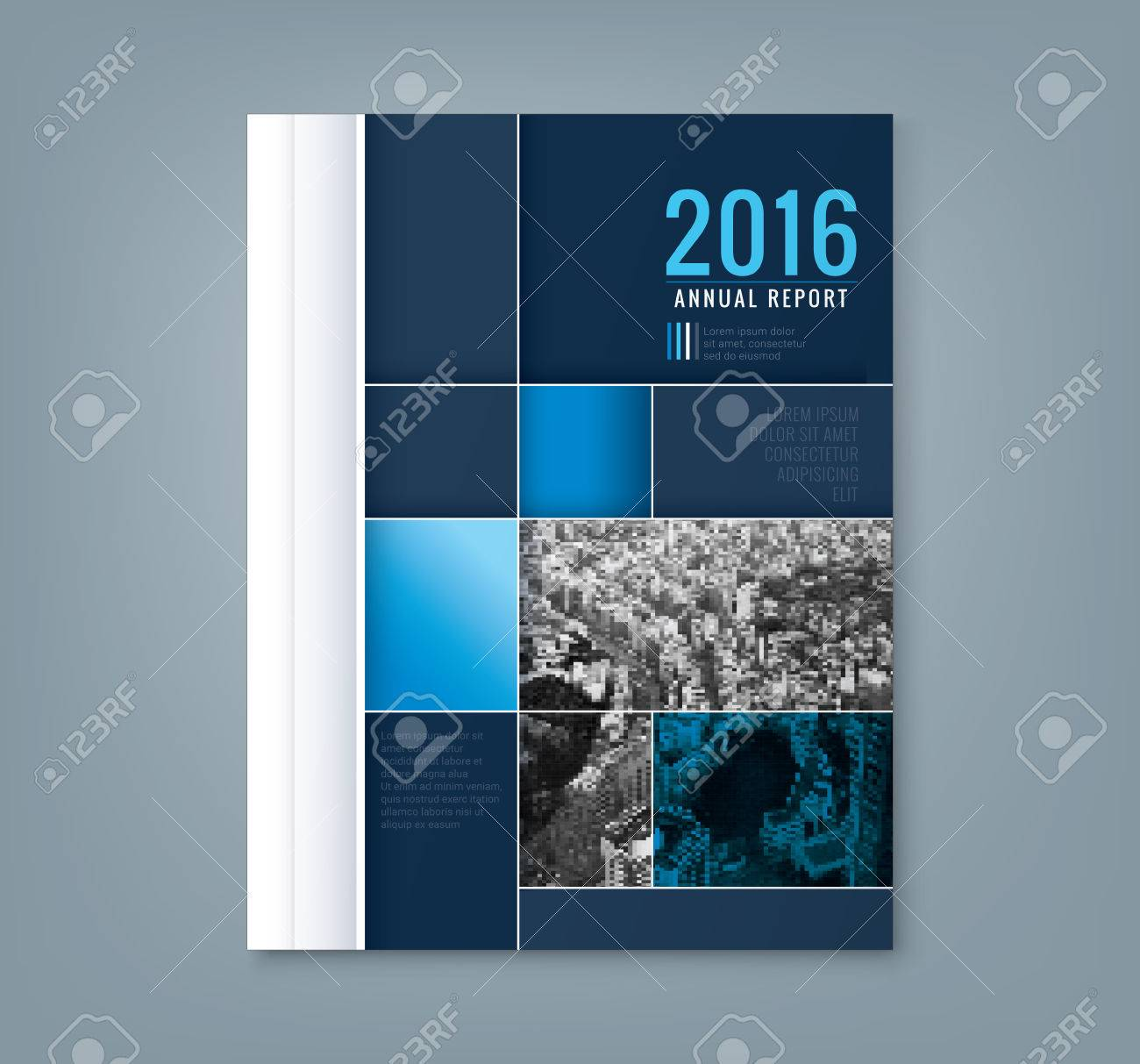 Abstract blue geometric square shape design background template for business annual report book cover brochure flyer poster - 58831033