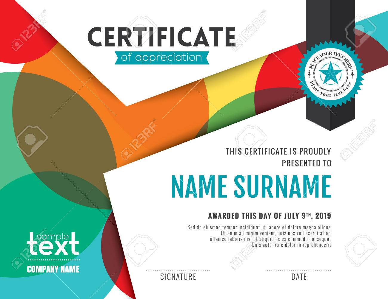 Modern certificate of appreciation template with colorful circles modern certificate of appreciation template with colorful circles background design stock vector 59496994 yadclub Image collections