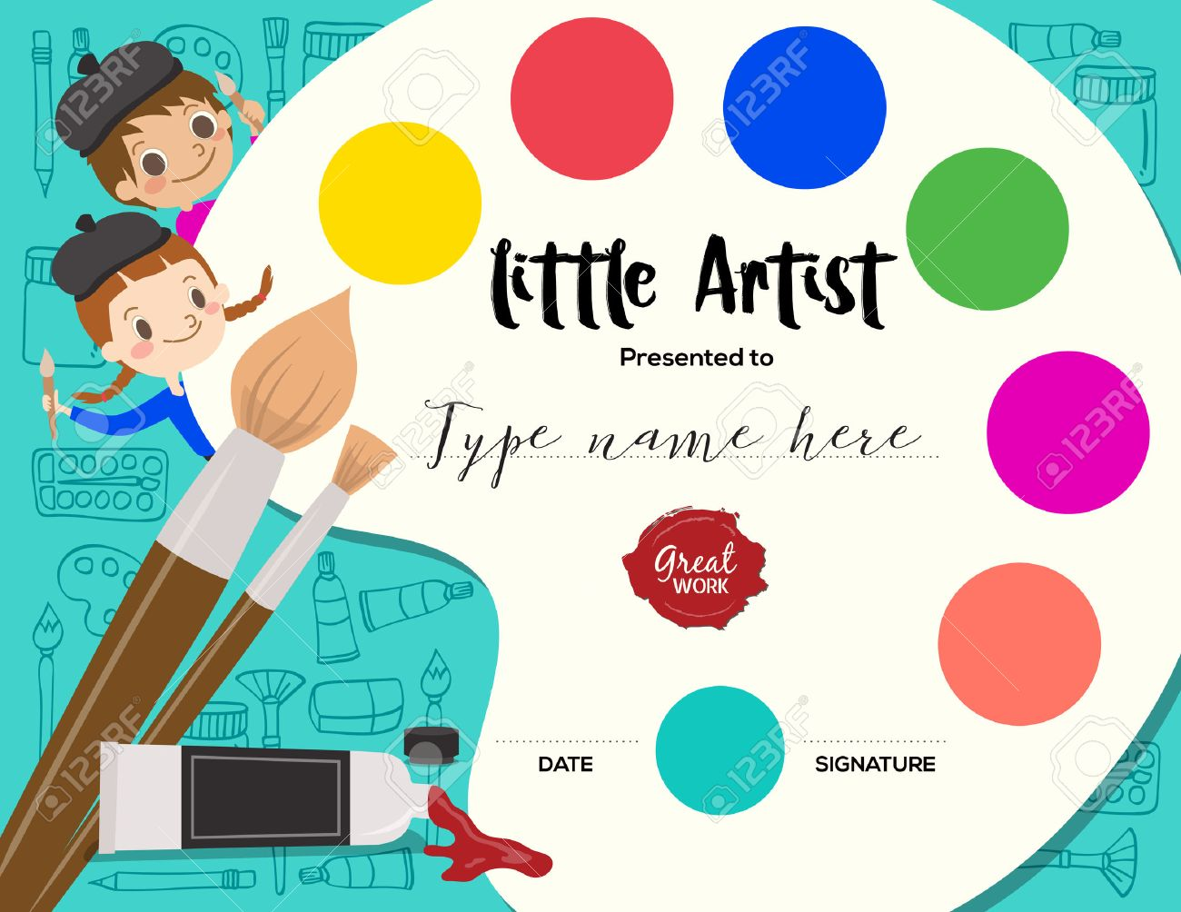 Little Artist, Kids Diploma Child Painting Course Certificate ...