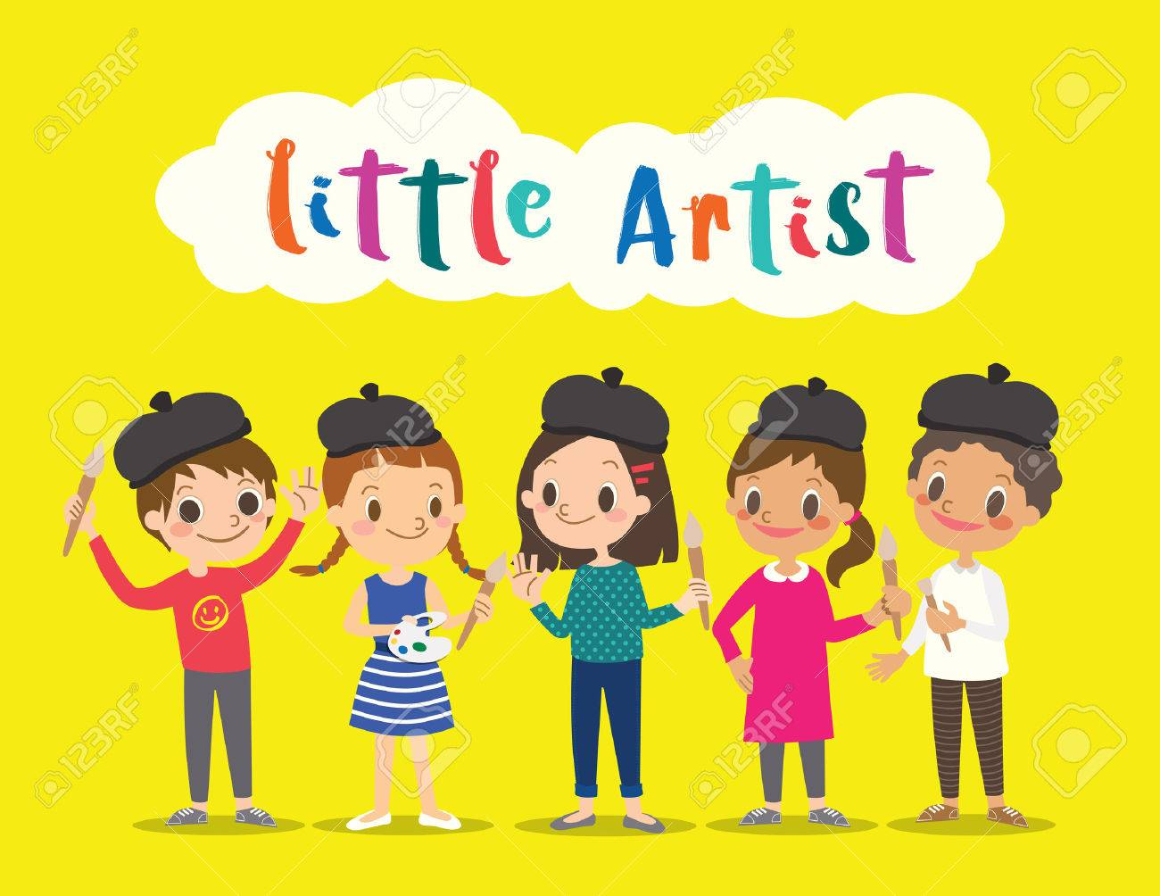 little artist, isolated kids children with painting tools cartoon character vector illustration - 60535432