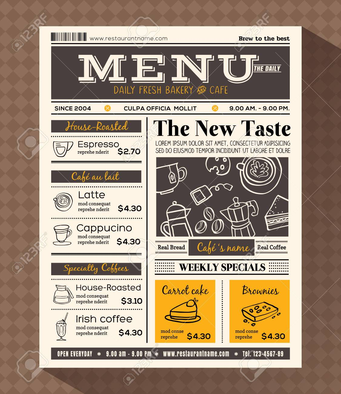 restaurant cafe menu design template in newspaper style royalty free