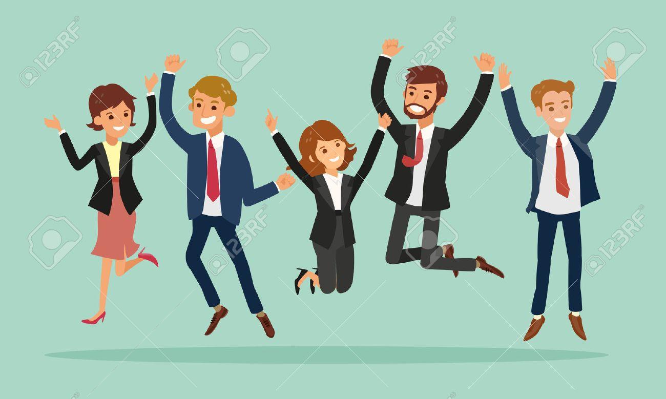 business people jumping celebrating success vector cartoon illustration - 61510363