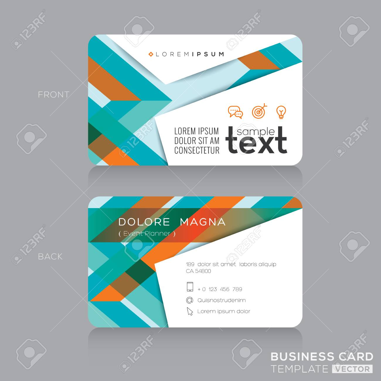 Business Cards Design Template With Abstract Colorful Banding ...