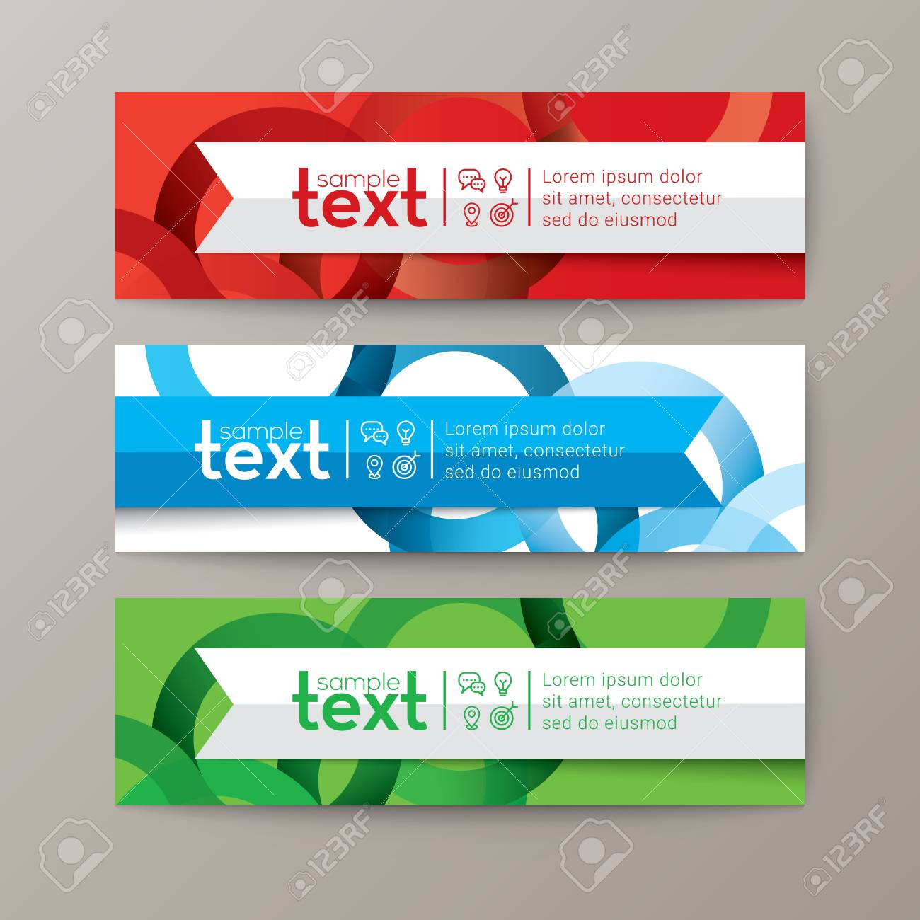 Set of modern design web banners template with colorful abstract circle background - 63444350