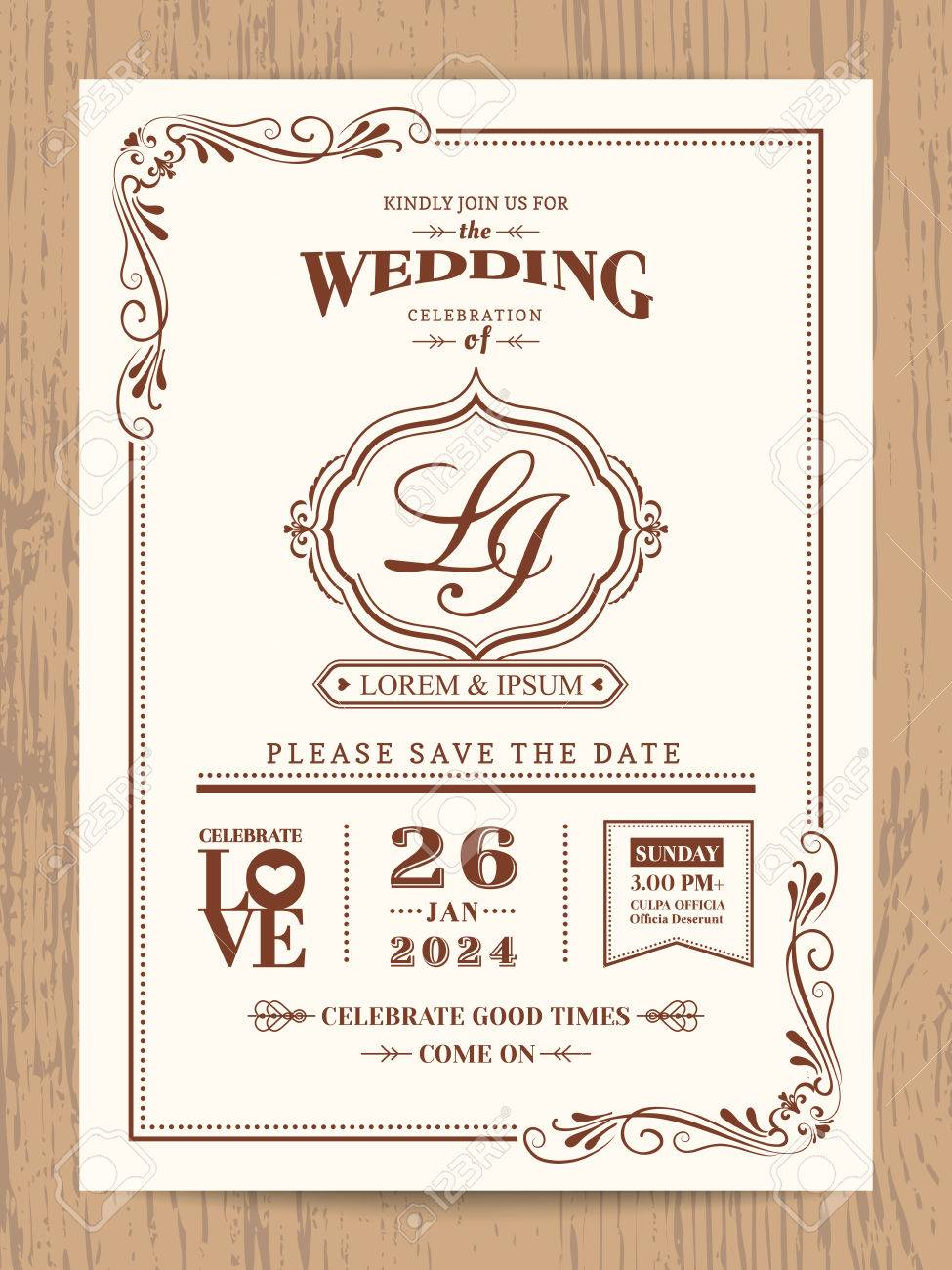 Classic Vintage Wedding Invitation Card With Brown Color Border ...
