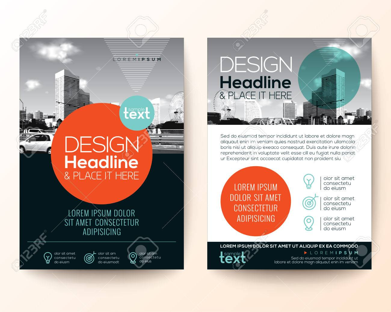 poster flyer pamphlet brochure cover design layout with circle