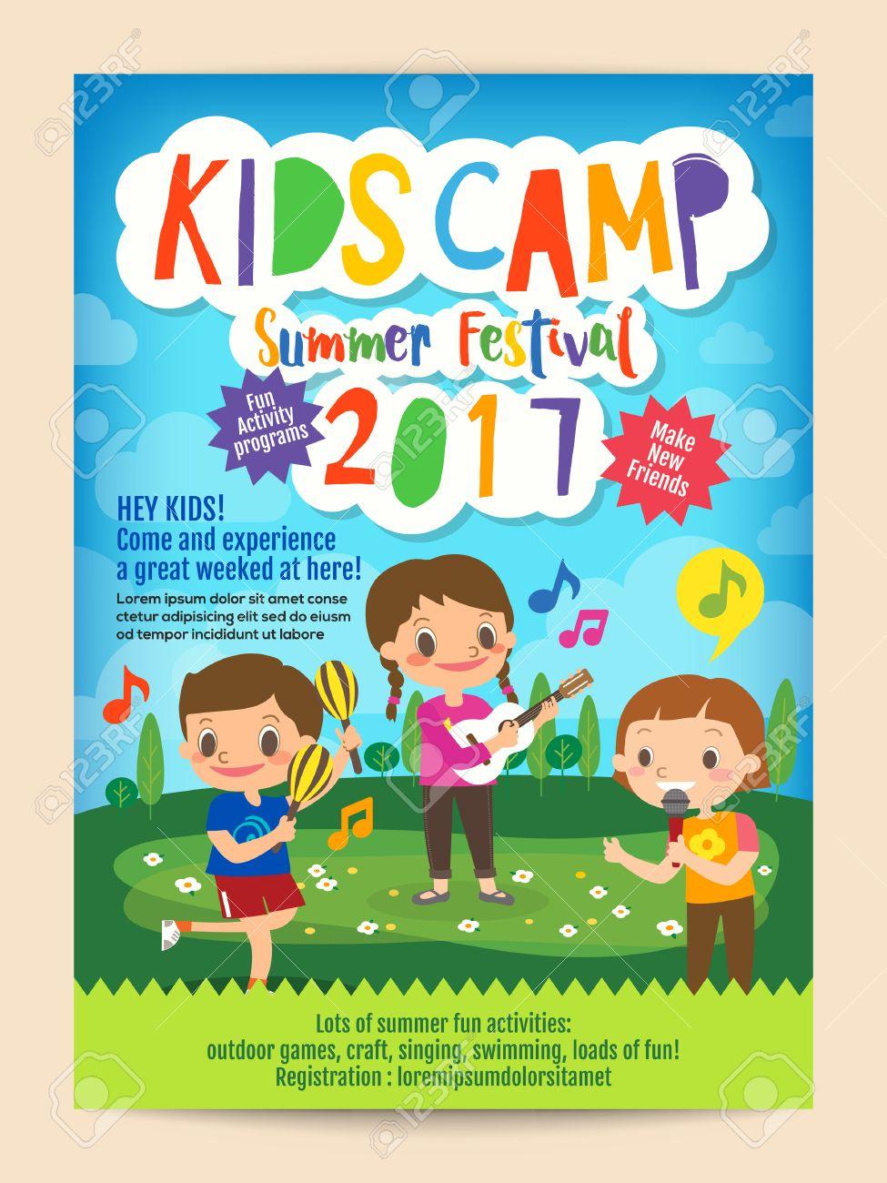 Kids Summer Camp Education Advertising Poster Flyer Template – Summer Camp Flyer Template