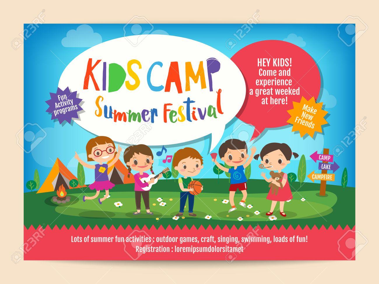 子供の子供のキャンプ活動のイラスト夏キャンプ教育広告ポスター チラシ
