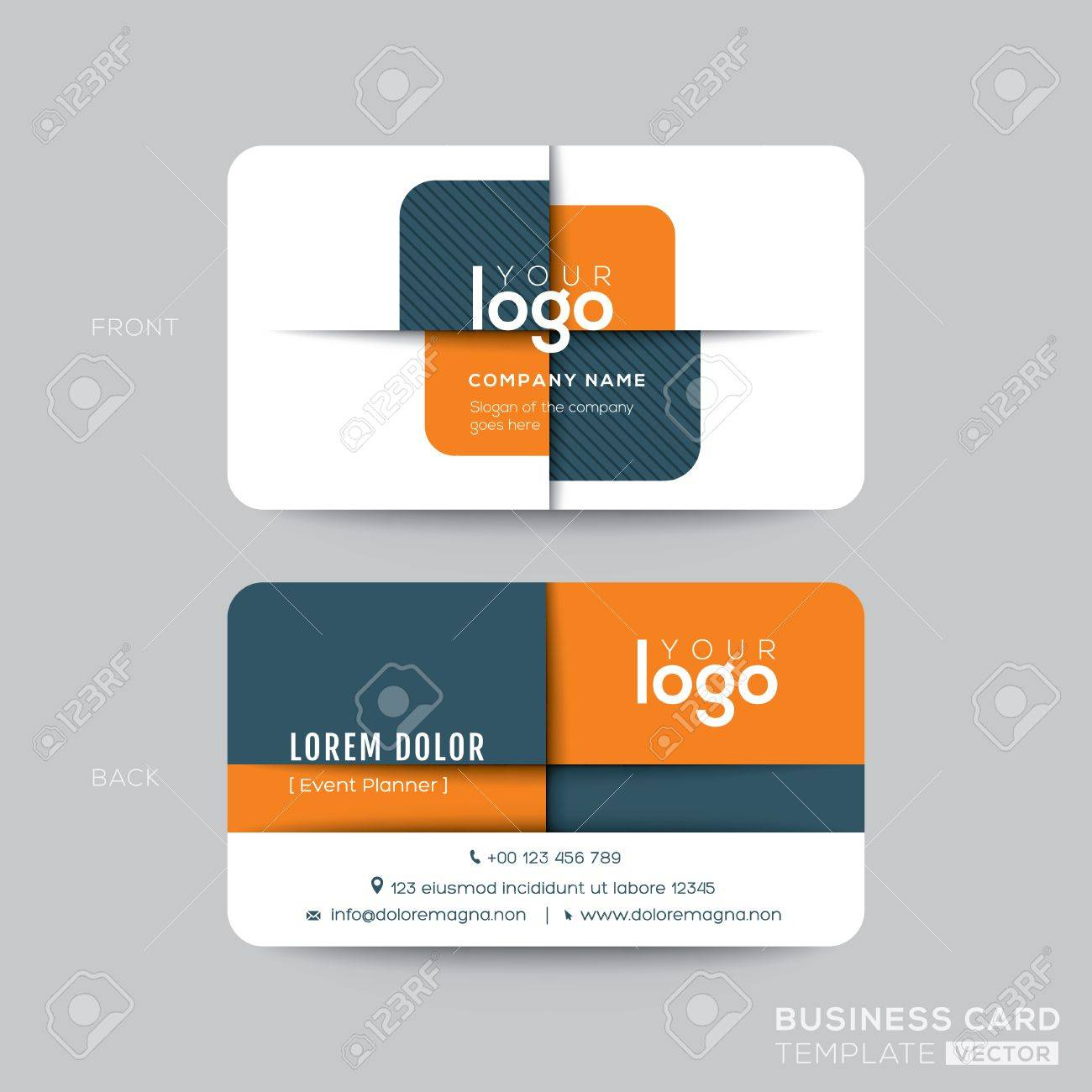 Modern Business Card Design With Orange And Gray Cross Shape ...