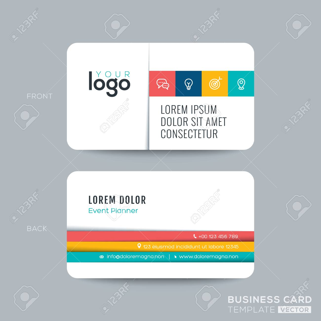Clean And Simple Business Card Namecard Design With Color Stripes On White Background Stock Vector