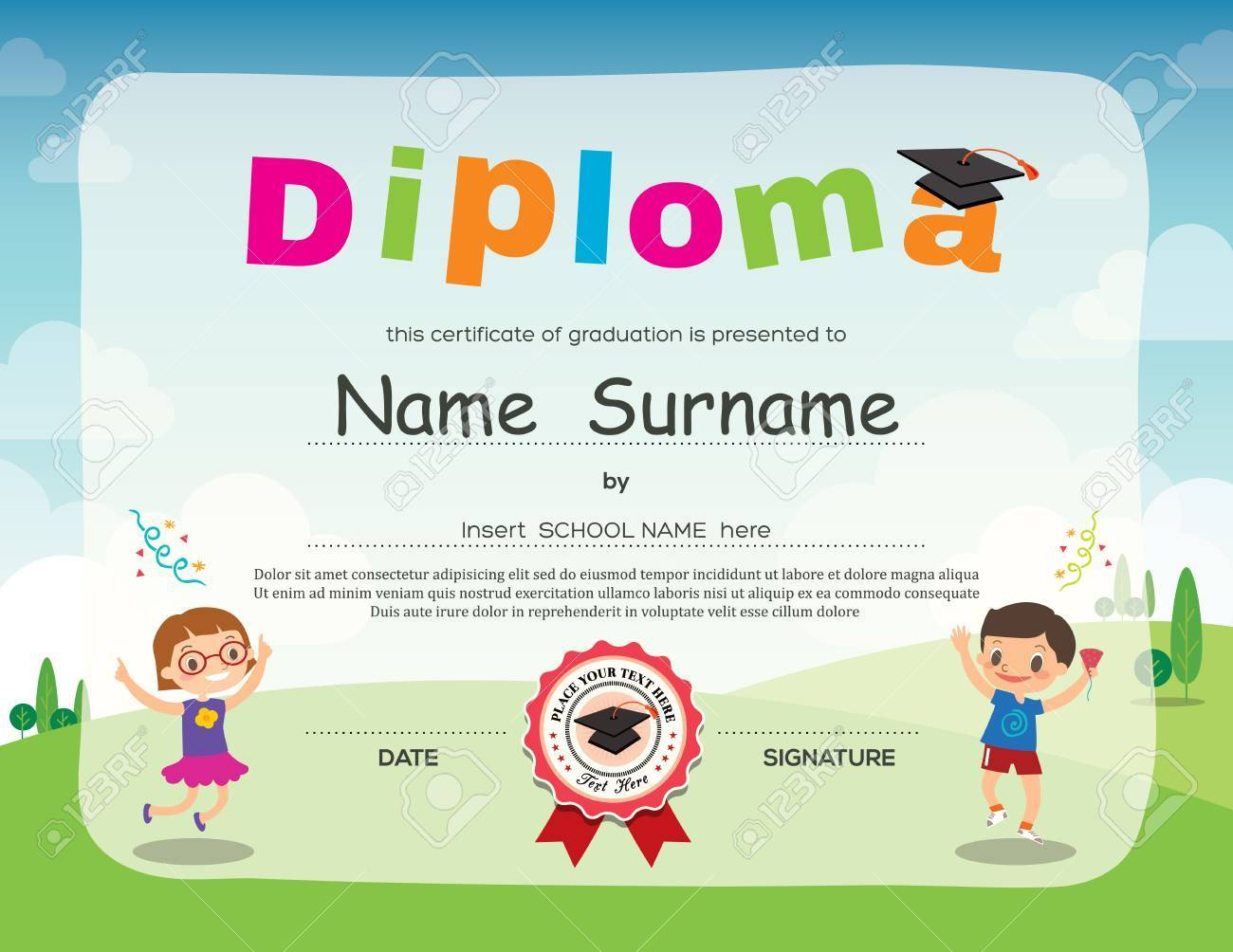 Preschool kids diploma certificate background design template preschool kids diploma certificate background design template stock vector 72321242 yelopaper