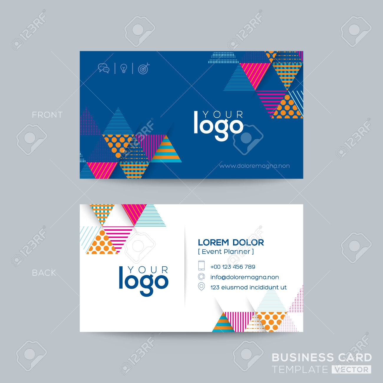 Blue Triangle Modern Business Card Design Royalty Free Cliparts ...
