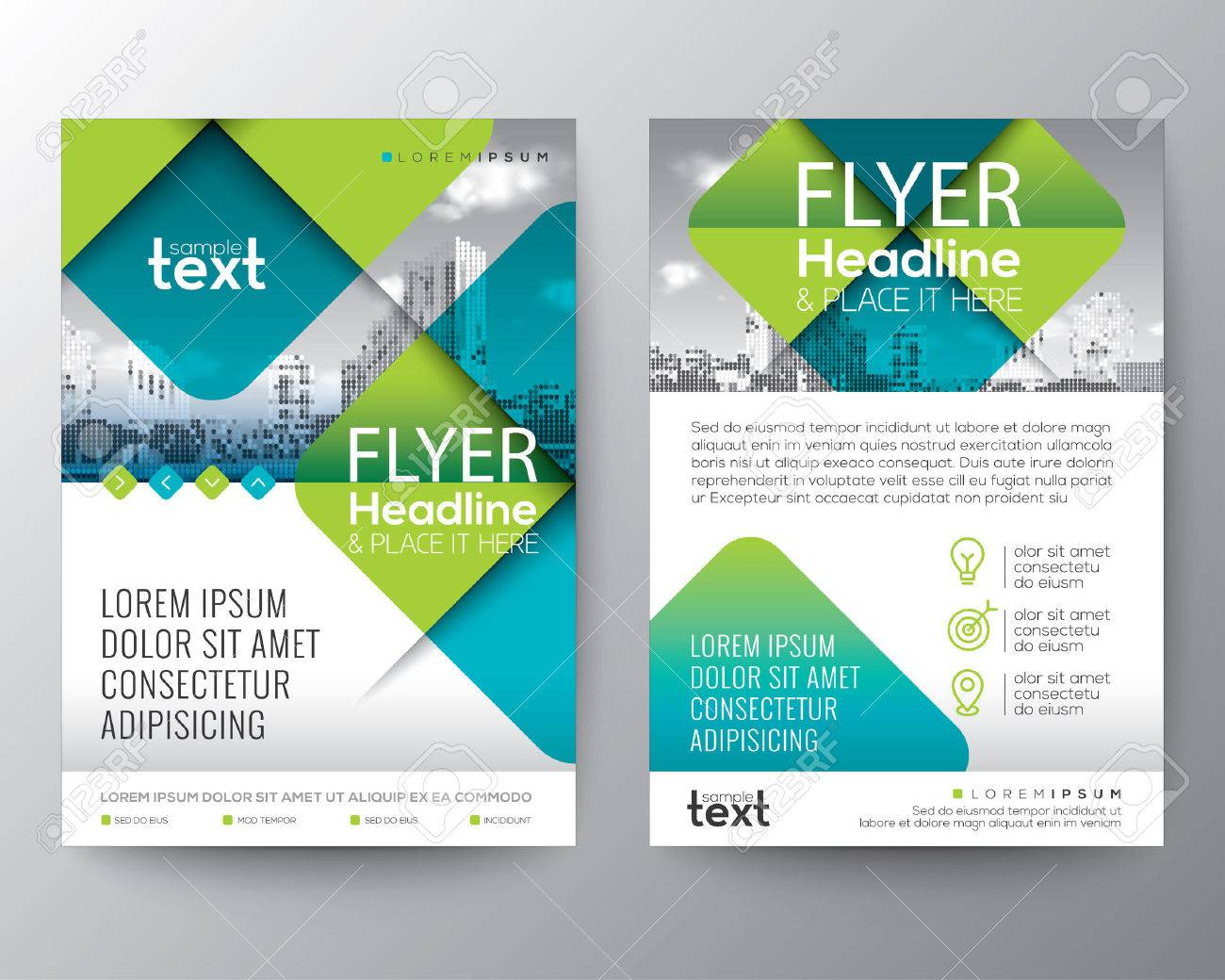 Abstract Cross diagonal square shape with green color. Graphic element background for brochure cover flyer poster design Layout vector template in A4 size - 74045147