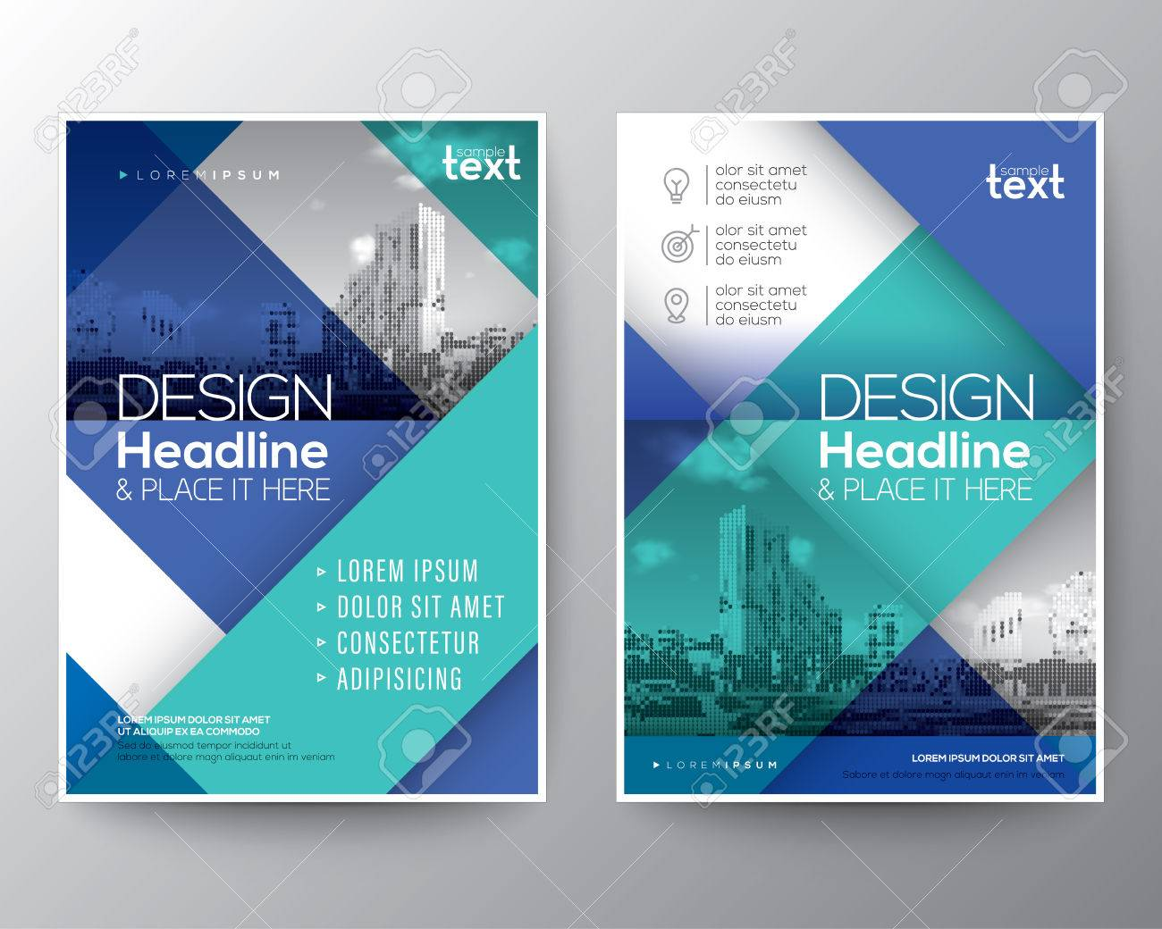 Blue And Teal Diagonal Line Brochure Annual Report Cover Flyer Poster Design Layout Vector Template In