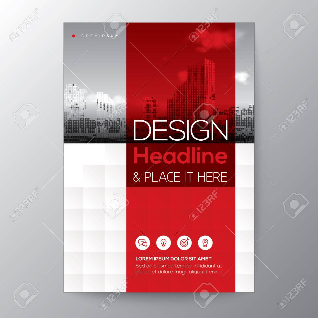 Red stripe graphic background for Brochure annual report cover Flyer Poster design Layout vector template in A4 size - 76568921
