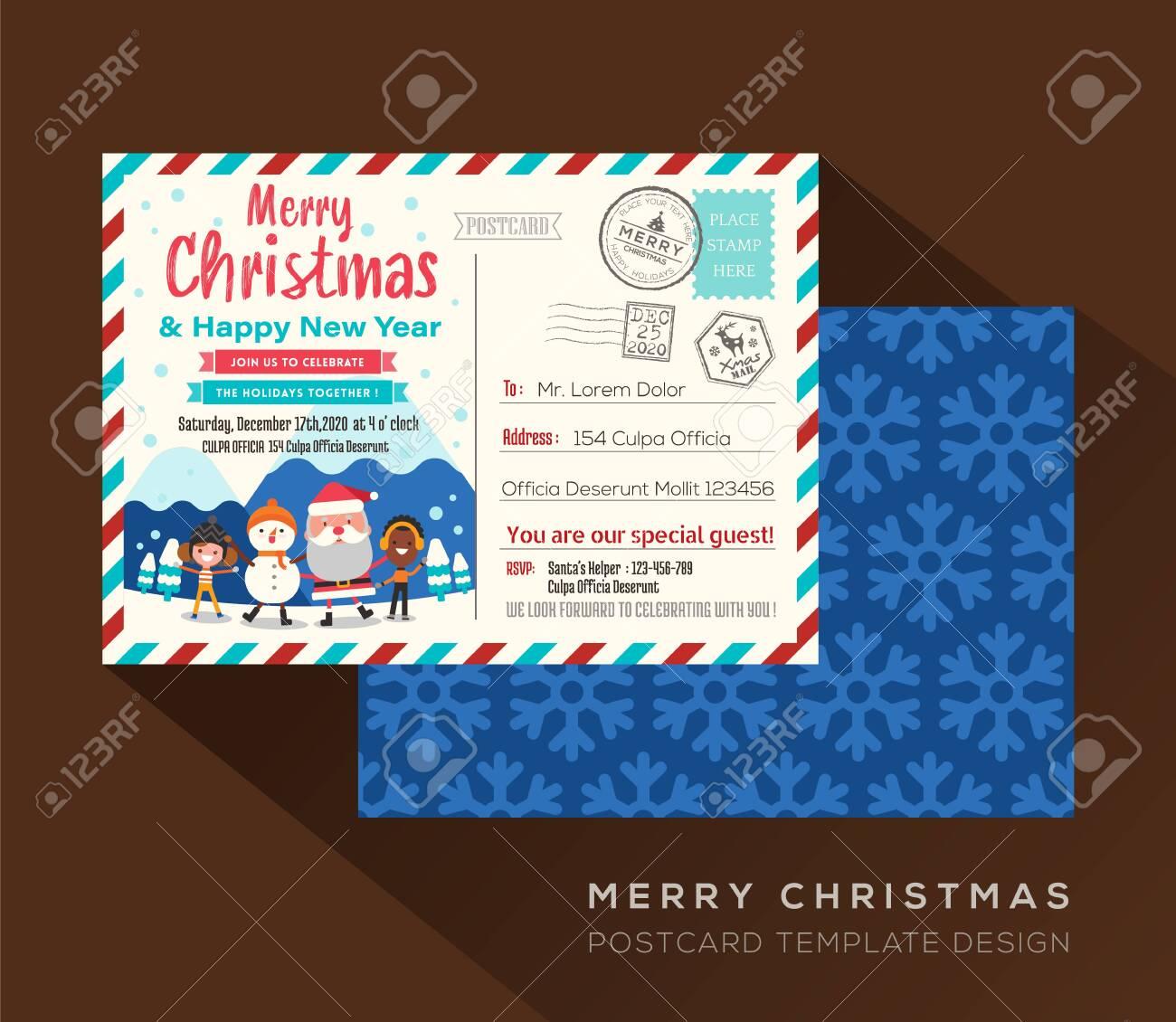 Merry Christmas postcard invitation card design Vector Template - 133553434