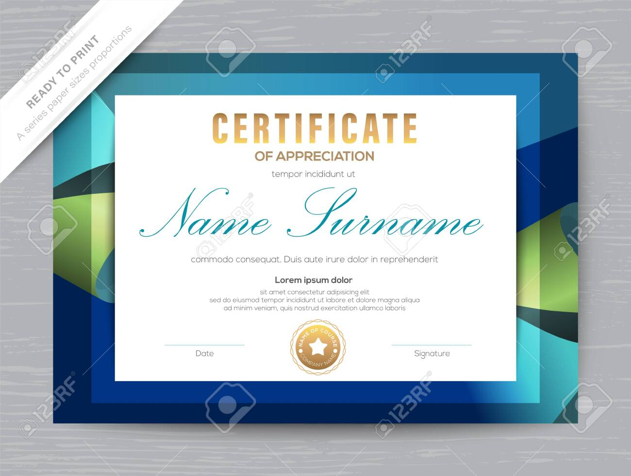 Certificate of Appreciation award diploma template. Dark blue background - 149271371