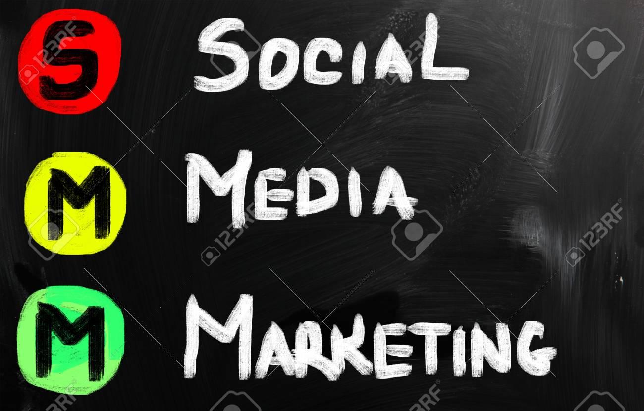 social media concept - text on a blackboard. Stock Photo - 21012676