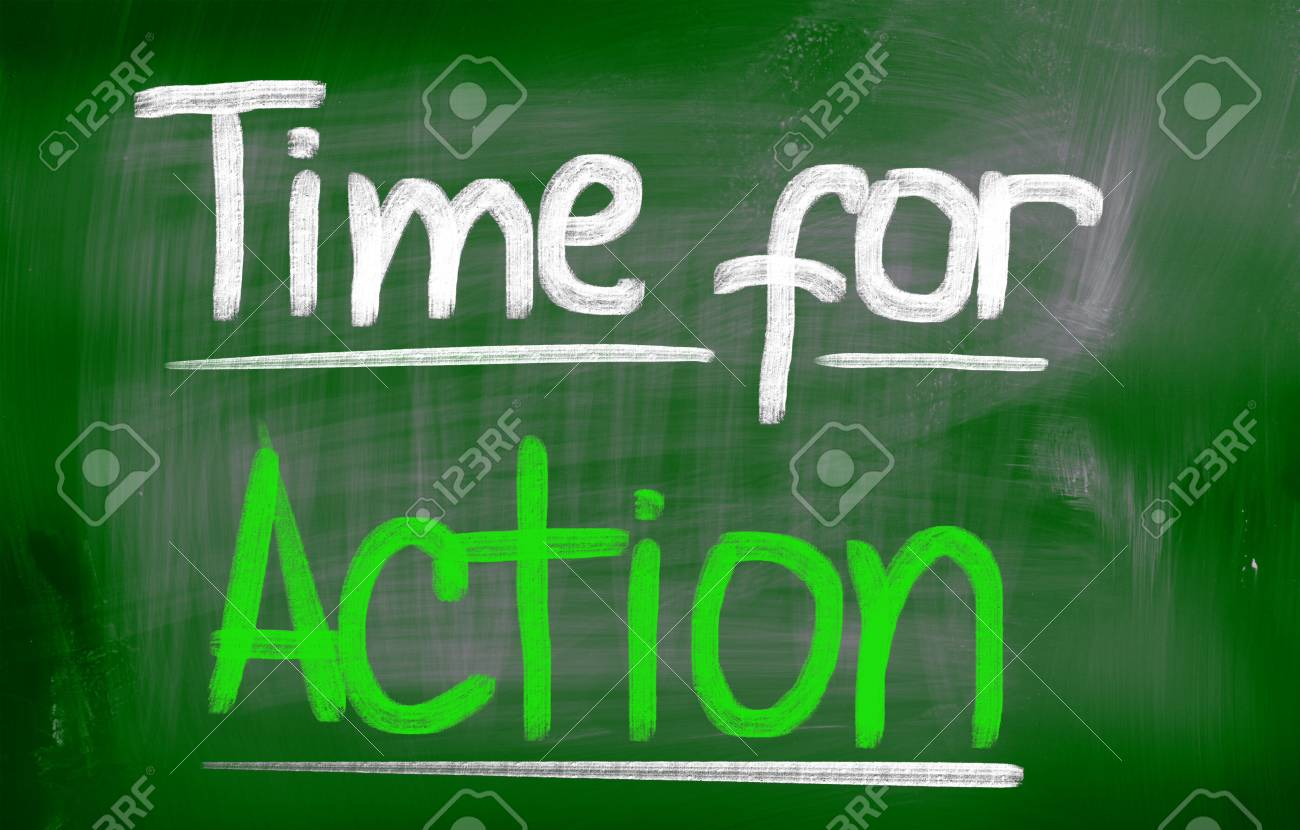 Time For Action words on board Stock Photo - 25696048