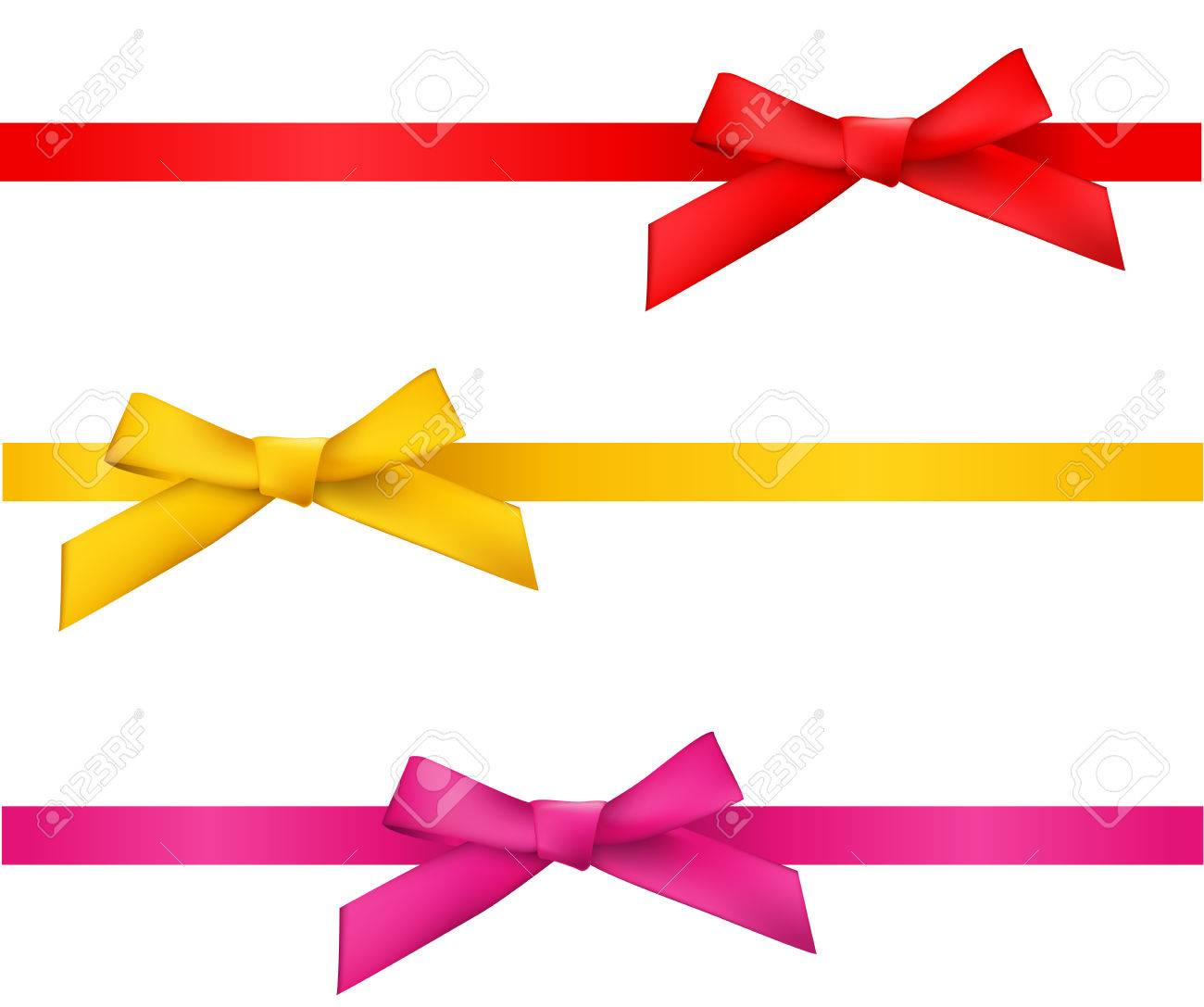 ribbon bows - red,gold,pink collection. isolated on white. - 55279057