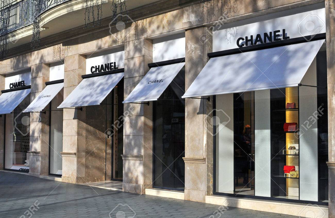f3dcfaaa0 BARCELONA, SPAIN - DECEMBER 8: Facade of Chanel flagship store in the  street of